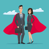 Man and woman business superheroes. Cartoon Super businessman vector illustration