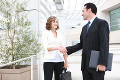 Man and Woman Business Team Handshake. An attractive man and woman business team shaking hands at office Stock Image