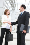 Man and Woman Business Team Handshake. An attractive man and woman business team shaking hands at office Royalty Free Stock Photo