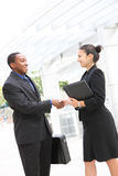 Man and Woman Business Team Handshake Stock Photos