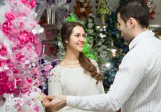Man and woman buying  flower Royalty Free Stock Images