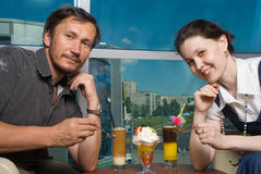 The man and woman in cafe Royalty Free Stock Photo