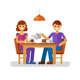 Man and woman in cafe. Vector flat design illustration of man and woman drinking coffee or tea in cafe. Young modern couple on dating sitting in the cafeteria Stock Photo