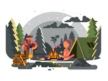 Man and woman in camp near fire. Outdoor campfire or bonfire, nature summer active rest travel. Vector illustration Royalty Free Stock Photography
