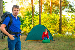 Man and woman  in the campground Royalty Free Stock Photos