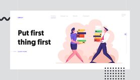 Man and Woman Carry Big Heap of Documents Files. Business People Characters, Office Employee at Work, Busy Day. Bureaucracy Website Landing Page, Web Page vector illustration