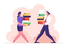 Man and Woman Carry Big Heap of Documents Files. Business People Characters, Office Employee at Work. Very Busy Day, Accounting Bureaucracy, Manager New Job stock illustration