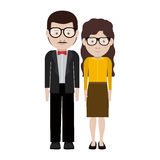 Man and woman cartoon with glasses design Stock Image
