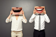 Man and woman changed their smiles Stock Photo
