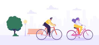 Man and Woman Characters Riding Bicycle in the City Background. Active People Enjoying Bike Ride in the Park. Healthy Lifestyle, Eco Transportation. Vector royalty free illustration
