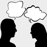 Man and woman chatting. Silhouettes of man and woman chatting stock illustration
