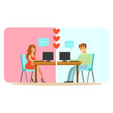 Man and woman chatting on their computers colorful character vector Illustration. Isolated on a white background Stock Photography