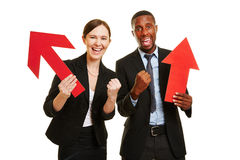 Man and woman cheering for motivation Royalty Free Stock Photography