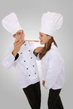 Man and Woman Chef. Attractive man and woman chef tasting food royalty free stock image