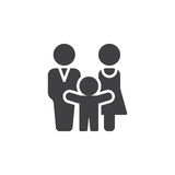 Man, woman and child icon vector, filled flat sign, solid pictogram isolated on white. Family symbol, logo illustration Stock Photography