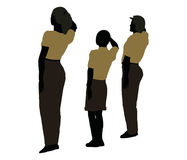 man, woman and a child silhouette in Military Salute pose Royalty Free Stock Photos