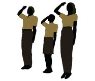 man, woman and a child silhouette in Military Salute pose Stock Photo