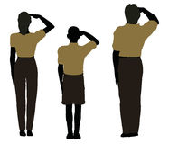 man, woman and a child silhouette in Military Salute pose Royalty Free Stock Images