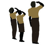 man, woman and a child silhouette in Military Salute pose Royalty Free Stock Photography