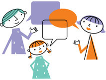 Man woman and child with speech bubbles Royalty Free Stock Images