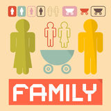 Man, Woman, Children and Baby Carriage Royalty Free Stock Image