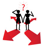Man and woman choice. Where to go is the choice on the red arrows Stock Photo