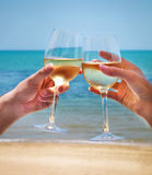 Man and woman clanging wine glasses with white wine at sea backg Royalty Free Stock Image