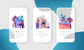 Man and Woman Cleaning Home. Loading Clothes to Washing Machine, Vacuuming Floor and Clean Dishes. Mobile App Page Onboard. Screen Set Concept for Website or vector illustration