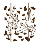 Man and woman climbing on the wall together, Hiking indoor Royalty Free Stock Photography