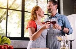 Man and woman clinking glasses Royalty Free Stock Image