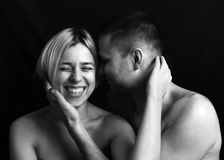 Man and woman, close-up portrait royalty free stock image