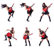The man in woman clothing with guitar Royalty Free Stock Photo
