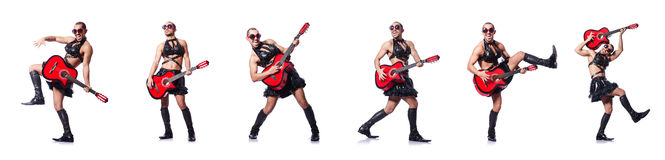 The man in woman clothing with guitar Stock Photo