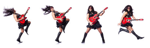 The man in woman clothing with guitar Stock Image