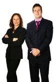Man and woman colleague. Businessman and woman colleague standing next to each other, isolated on white Stock Photo