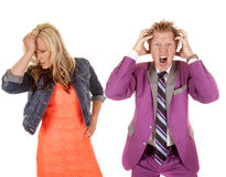 Man and woman colorful frustrated Stock Images