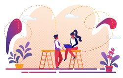 Man and Woman Communicating. Human Relationship vector illustration