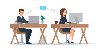 Man and woman at computer monitor. Office correspondence, employ. Ees to correspond by mail. Business concept. Vector illustration isolated on white background Stock Photos