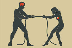 Man and woman. Concept. Confrontation between the sexes Stock Images