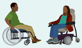 Man and Woman Confined to Wheelchair. Black or African American Man and Woman in Wheelchair Stock Images
