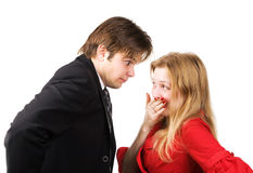 Man and woman conflict. Isolated on white Royalty Free Stock Photography