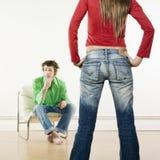 Man woman confrontation Stock Photo