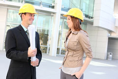 Man and Woman Construction Stock Images