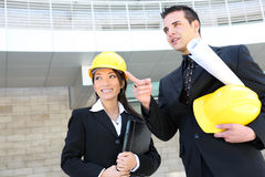 Man and Woman Construction Team Stock Photo