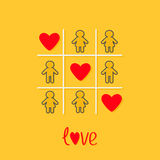 Man Woman contour line icon Tic tac toe game. Three red heart sign Love Yellow background Flat design Royalty Free Stock Photography
