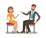 Man, Woman Conversation Flat Vector Illustration. Pretty Lady Having Discussion with Handsome Boy. Elegant Girl Arguing with Opponent Isolated Characters vector illustration