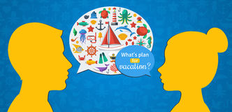 Man and Woman Conversation about Summer Vacation. Flat design Vector illustration. Marine Symbols in Speech Bubble, Sea Leisure Sport, Yachting. Holiday Stock Photography
