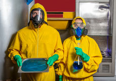 Man and woman cooking meth Stock Photo