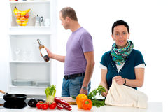 Man and woman cooking together Royalty Free Stock Photos