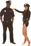 Man and woman cop she flirting Stock Photos